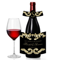 (sku216) Select color Baroque wine labels | Grecian leaf | champagne bottle adhesive stickers - Best Welcome Bags