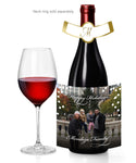 (sku158a) Holiday photo wine bottle stickers | logo Christmas champagne labels - Best Welcome Bags