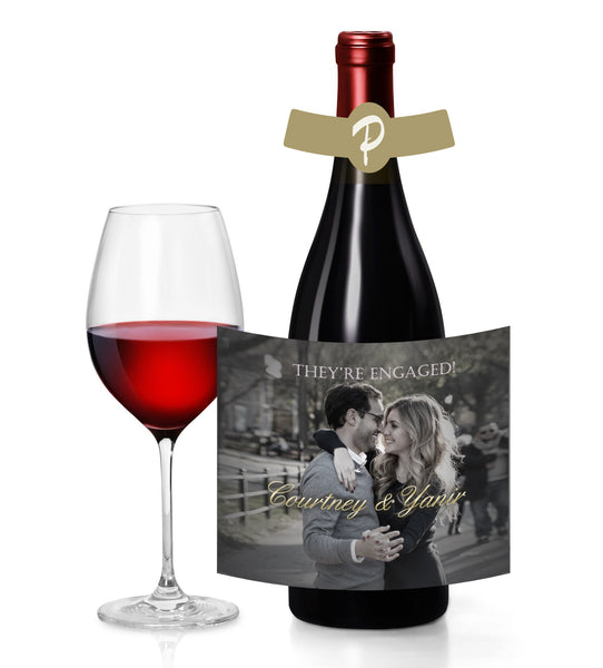 custom photo wine champagne beer split to standard bottle label