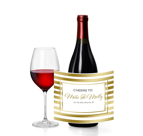 (sku176) gold stripe custom wine bottle sticker | champagne bottle label | wine label - Best Welcome Bags