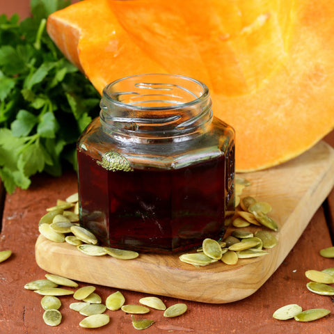 Closeup image of pumpkin seed oil