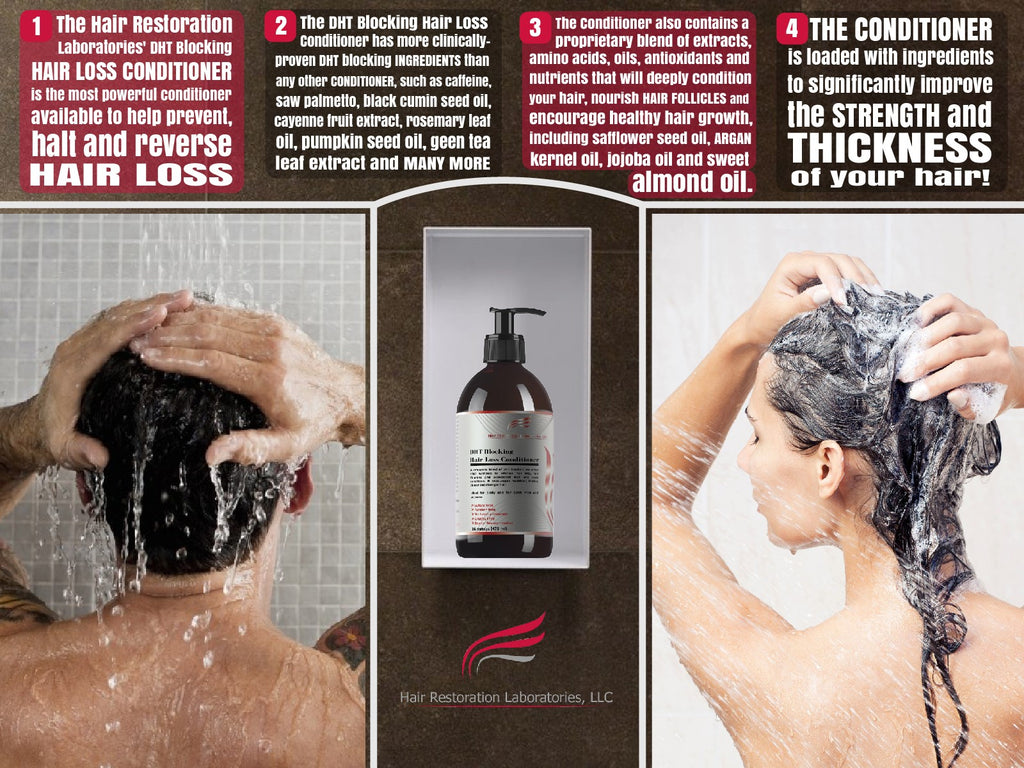 Infographic of how the Hair Restoration Laboratories DHT Blocking Conditioner can help reverse hair loss
