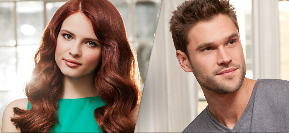 Split image of an attractive man and woman with thick, luxurious hair