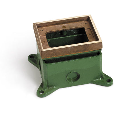 Single Gang Deep Concrete Floor Box, Adjustable, Brass