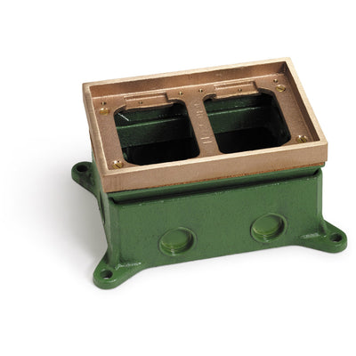 Lew Electric 1102-58 2 Gang Concrete Floor Box, Adjustable, Brass