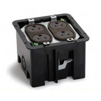 Plastic floor box with 4 power