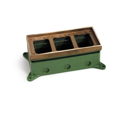 Lew Electric 1103-58 3 Gang Concrete Floor Box, Adjustable, Brass