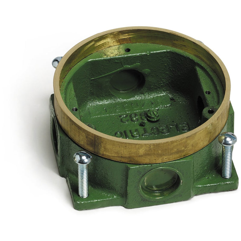 Lew Electric 332-58 Round Concrete Floor Box, Semi-Adjustable, Brass