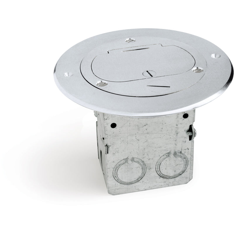 Lew Electric 612-RSS-1-A Round Floor Box, 1Duplex Hinged Lid, Aluminum
