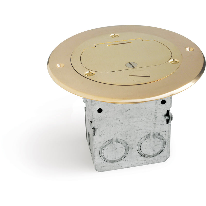Lew Electric 612-RSS-1-TEL Round Floor Box, 1 Opening, Cover, Brass