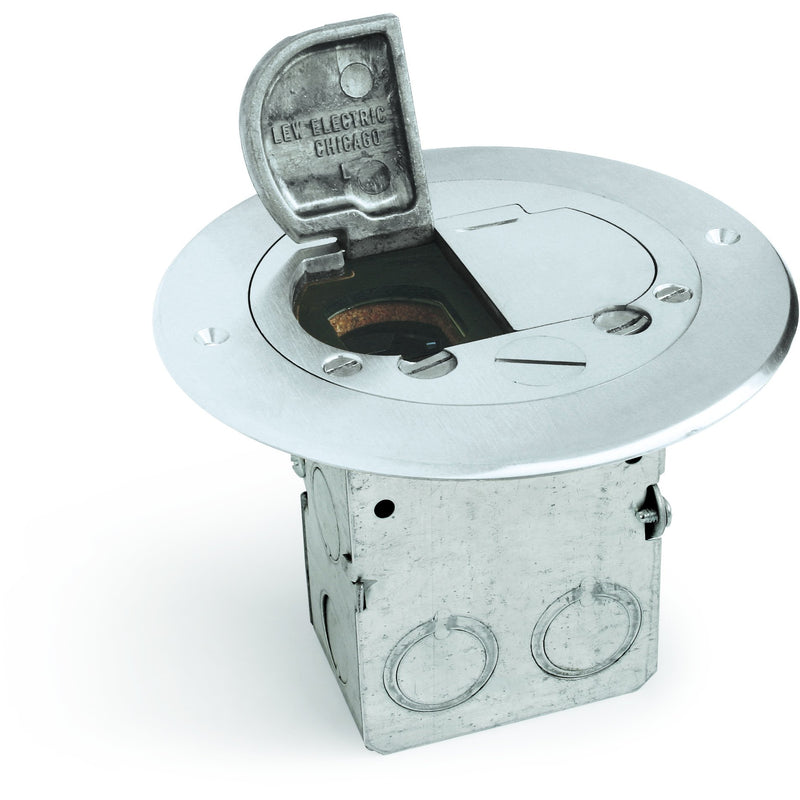 Lew Electric 612-RSS-2-A Round Floor Box, 1 Duplex, 2 Hinged Aluminum