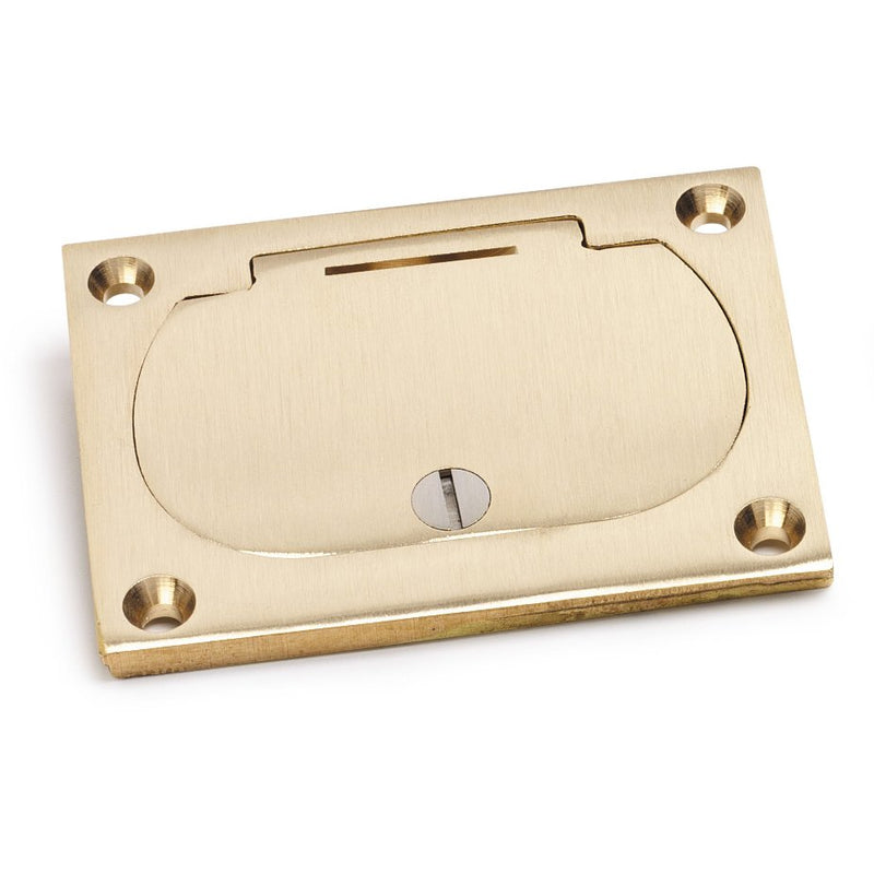 Lew Electric 6304-DFB-1-TEL Hinged Lid Receptacle 1100 Box Cover Brass