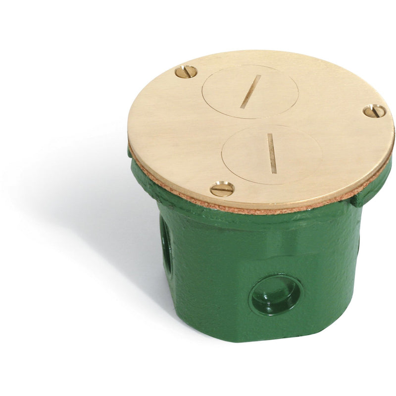 Lew Electric 812-DFB Round Flush Floor Box, Duplex, Screw Plugs, Brass