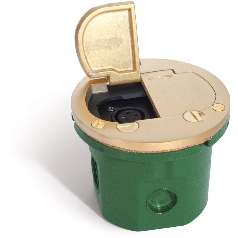 Flush Mounted Round Floor Box, 2 XLR Mic Jacks, Flip Lids, Brass