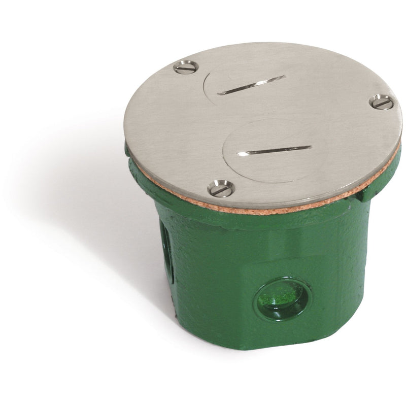 Lew Electric 812-DFB-NS Round Flush Floor Box, Duplex, Plugs, Nickel