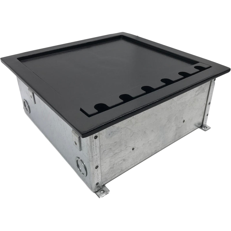 Lew Electric CF10C8K Black Concrete Floor Box with Lid Closed, Cutouts for 4 Decora & 8 Keystone