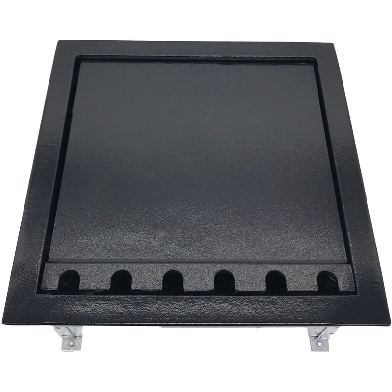 Lew Electric CF10CKK Black Concrete Floor Box with Lid Closed, Cutouts for 16 Keystone