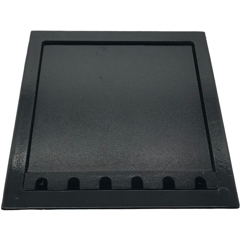 Lew Electric RF10C66 Black Concrete Floor Box with Lid Closed, Cutouts for 8 Duplex