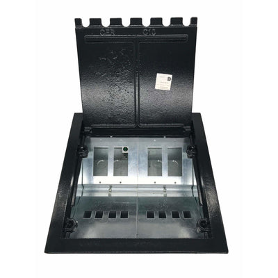 Lew Electric CF10C8K Black Concrete Floor Box with Lid Open, Cutouts for 4 Decora & 8 Keystone