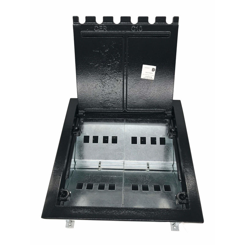 Lew Electric CF10CKK Black Concrete Floor Box with Lid Open, Cutouts for 16 Keystone