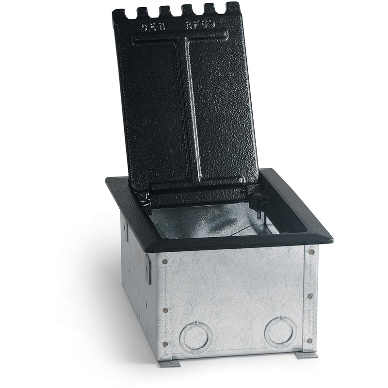 Lew Electric CF9C22 Black Concrete Floor Box with Lid, Cutouts for 2 Duplex and 4 Keystones