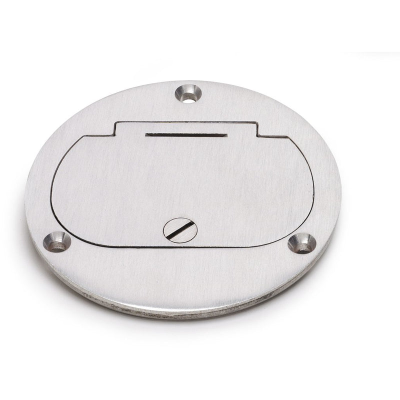 Flush Mounted Round Floor Box, One 15A Duplex, Flip Lid, Aluminum