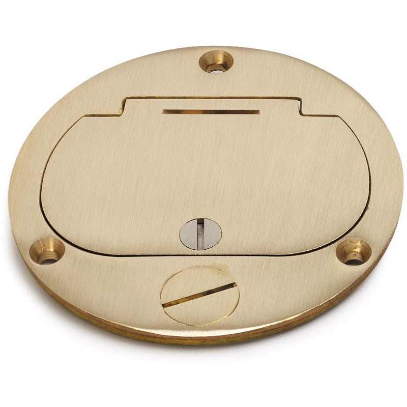 Drop-In Round Floor Box, Single Opening, Hinged Cover, Brass