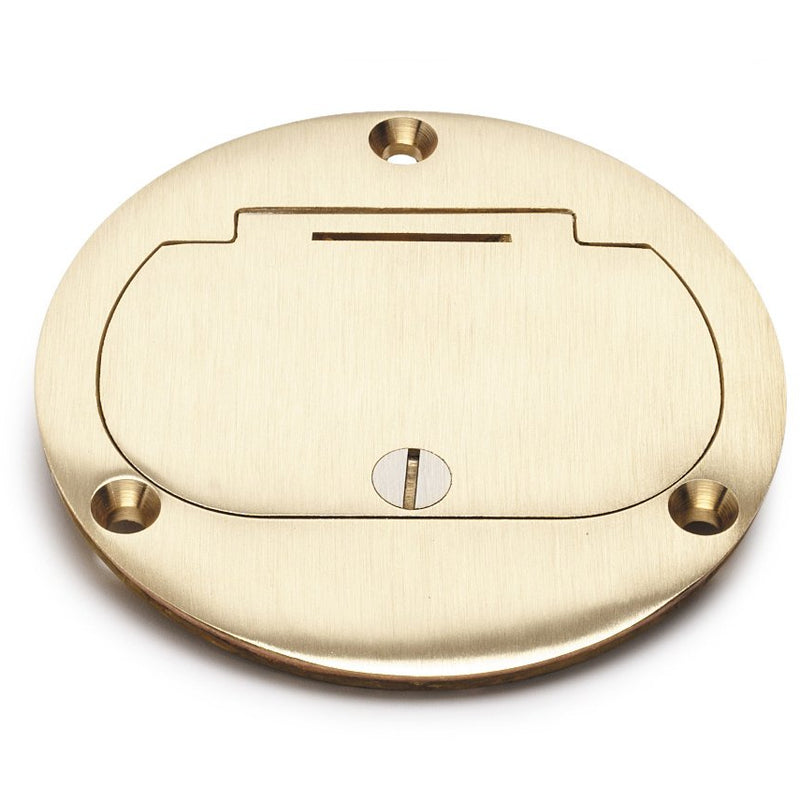 Flush Mounted Round Floor Box, One 15A Duplex, Flip Lid, Brass