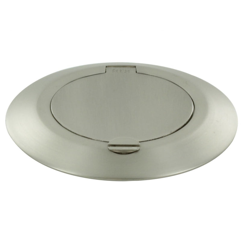 Small Round Brushed Nickel Floor Box Outlet Lid Closed