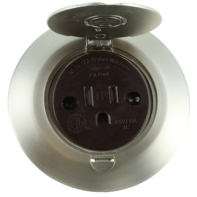 Small Round Brushed Nickel Floor Box Outlet Lid Open