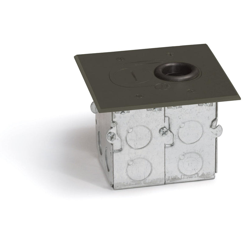 Lew Electric RCFB-1-DB Concealed Plug Floor Box, 1 Outlet, Dark Bronze - Showing Box and Cover