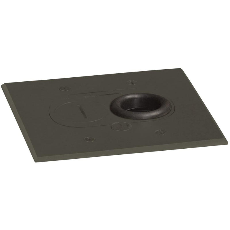 Lew Electric RCFB-1-DB Concealed Plug Floor Box, 1 Outlet, Dark Bronze - Showing Cover
