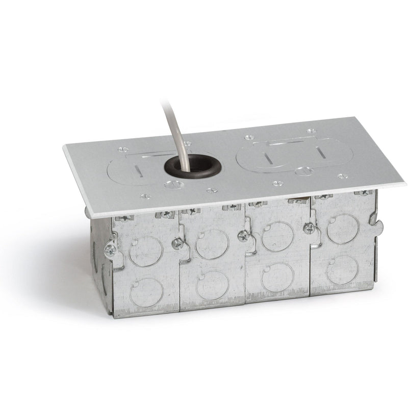 Lew Electric RCFB-2-A Concealed Plug Floor Box, Two Duplexes, Aluminum - Showing Box and Cover