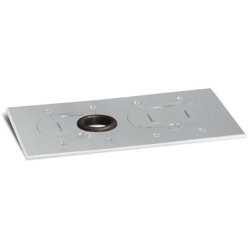 Lew Electric RCFB-2-A Concealed Plug Floor Box, Two Duplexes, Aluminum - Showing Cover
