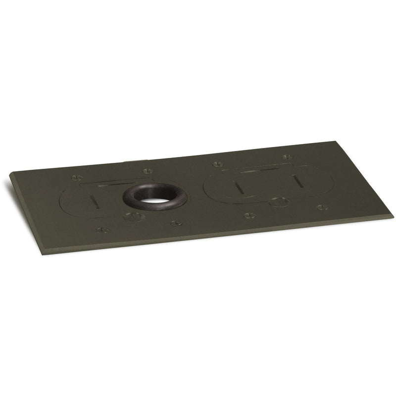 Lew Electric RCFB-2-DB Concealed Plug Floor Box 2 Outlets, Dark Bronze - Showing Cover