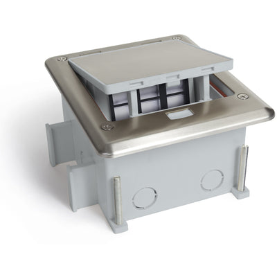 Outdoor Waterproof Popped Up Ground Box Stainless Steel 6 Empty Keystone Jacks, Push Button