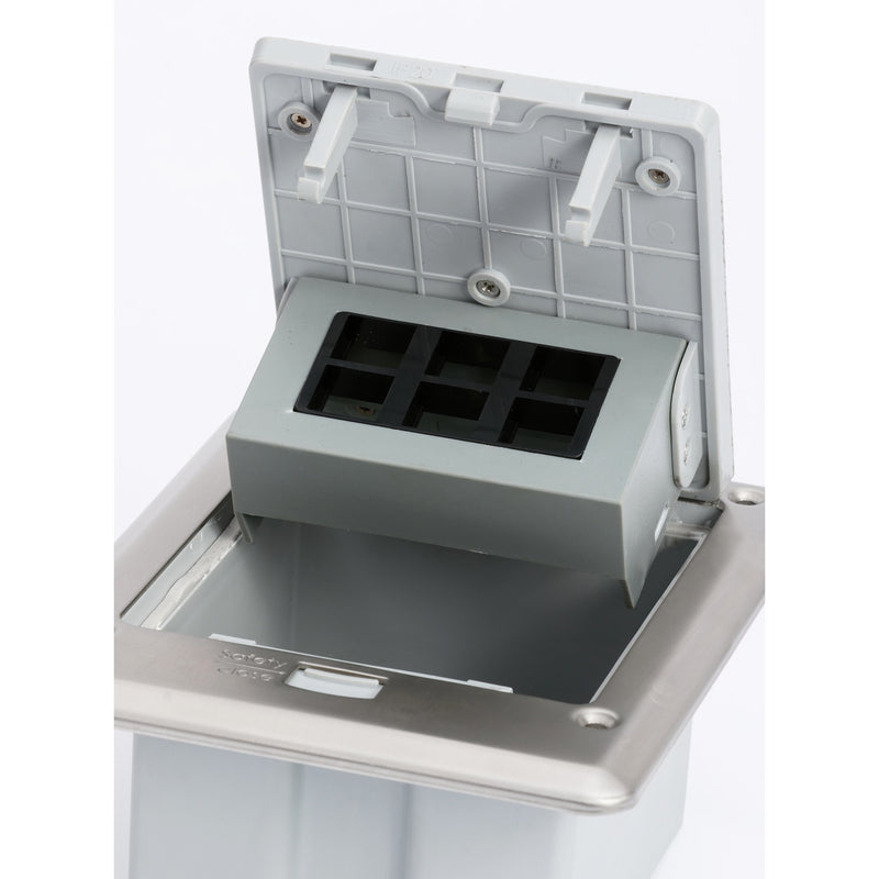 Outdoor Waterproof Popped Up Ground Box Stainless Steel 6 Empty Keystone Jacks, Push Button Open
