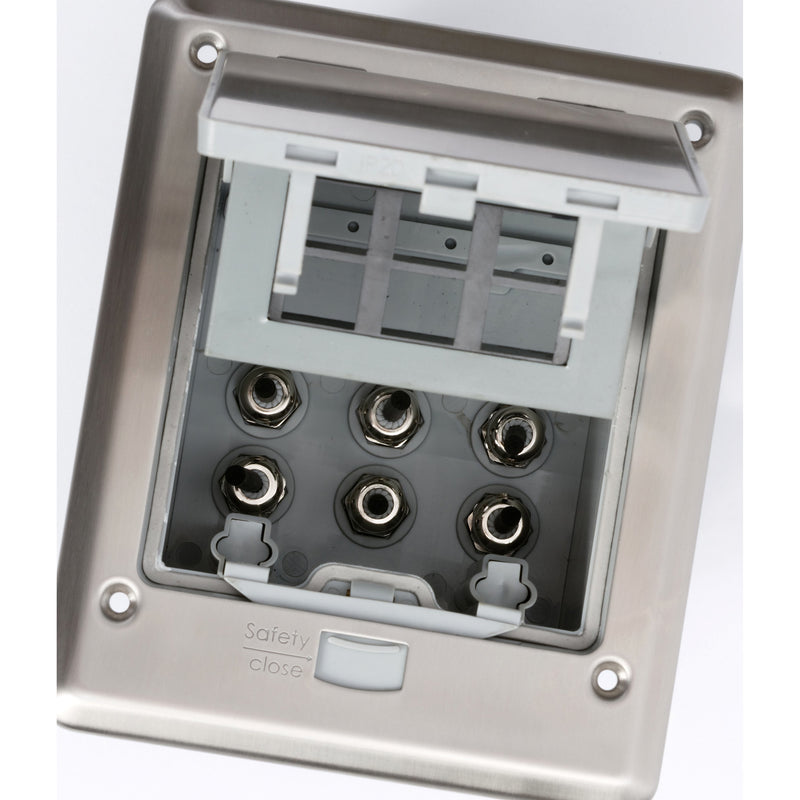 Outdoor Waterproof Popped Up Ground Box Stainless Steel 6 Empty Keystone Jacks, Push Button Inside