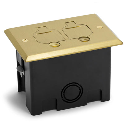 1 Duplex 15A Power Plastic Floor Box with Flip Lids - Brass Cover