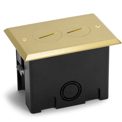 Lew Electric PB1-SPB 1 Duplex Plastic Floor Box w/ Screw Plugs, Brass