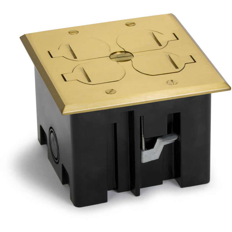 Lew Electric PB2-FPB Plastic Floor Box, 2 Duplex, 4 Flip Lids, Brass