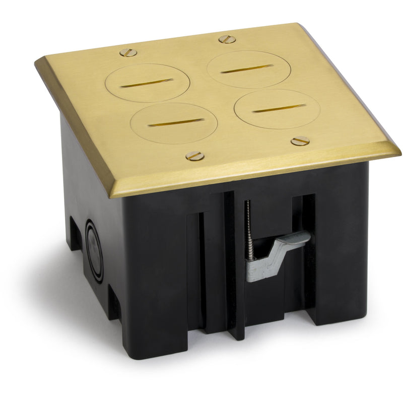 Lew Electric PB2-SPB 2 Duplex Plastic Floor Box, Screw Plugs, Brass