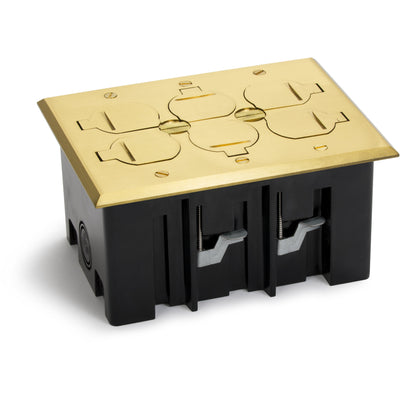 Lew Electric PB3-FPB 3 Duplex Plastic Floor Box, Flip Lids, Brass