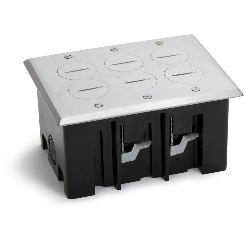Lew Electric PB3-SPA 3 Duplex Plastic Floor Box, Screw Plugs, Aluminum