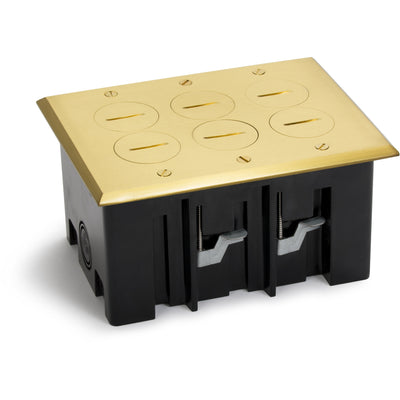 Lew Electric PB3-SPB 3 Duplex Plastic Floor Box, Screw Plugs, Brass