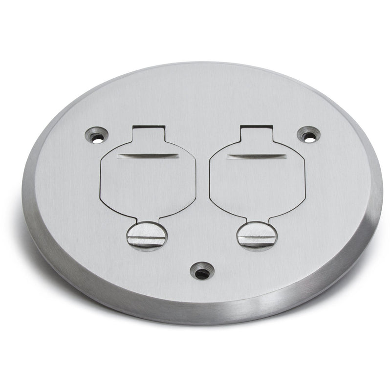 1 Duplex Flip Lid Round Cover for PBR-1 Floor Box - Aluminum