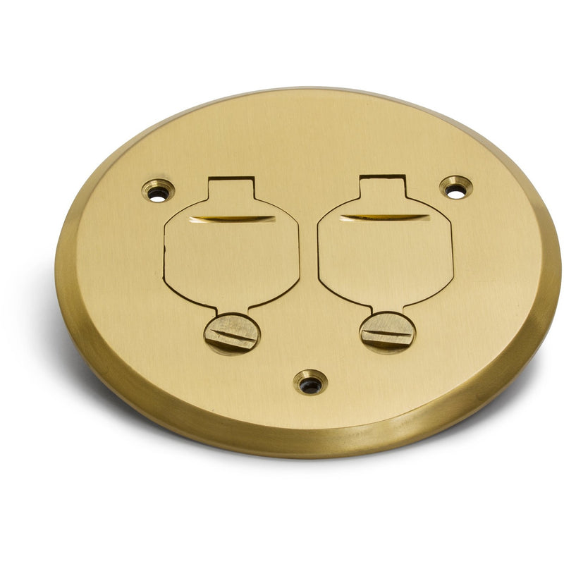 Lew Electric PBR-FPB 1 Duplex Flip Lid Round Cover for PBR-1, Brass