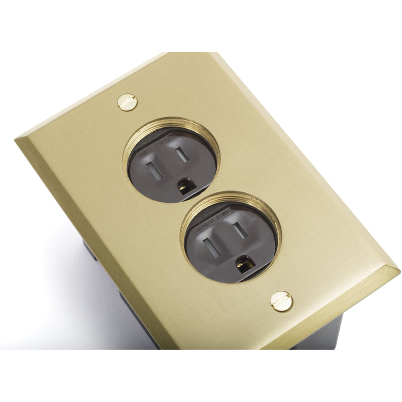 Lew Electric PB1-SPB 1 Duplex Plastic Floor Box w/ Screw Plugs, Brass showing outlets