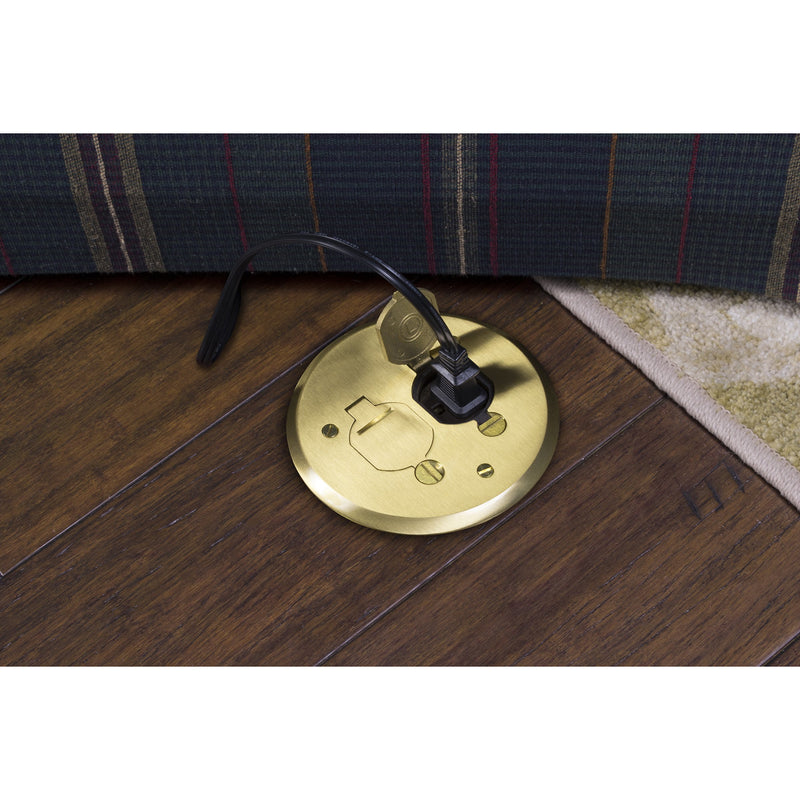 Lew electric pbr1 fpb 1 duplex round plastic floor box for Wood floor outlet cover