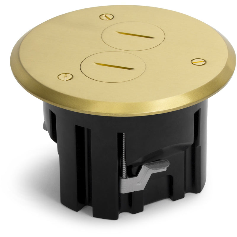 Lew Electric PBR1-SPB 1 Duplex Round Plastic Floor Box, Plugs, Brass